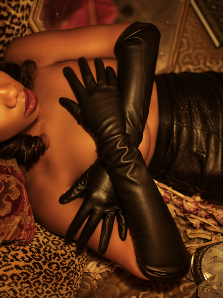 Opera Gloves in Black Faux Leather