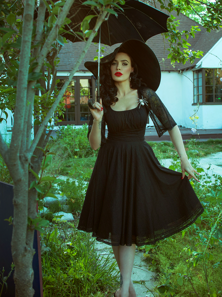 Baudelaire Swing Dress in Black Velvet