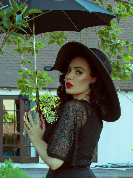 The Wicked Web Top in Black from La Femme Noir - a gothic inspired retro top able to be worn on or off shoulder.