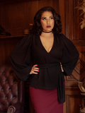 PRE-ORDER  - Georgette Wrap Top in Black