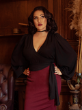 PRE-ORDER - Bishop Sleeve Blouse in Black Georgette