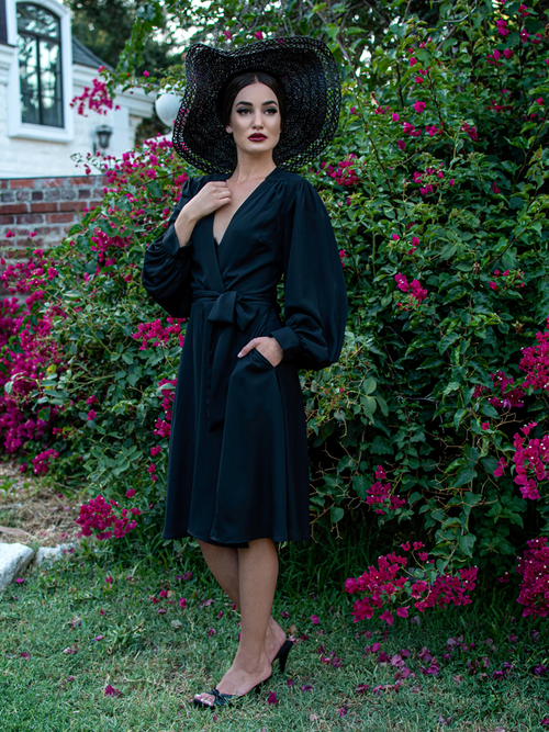 Serpentine Wrap Dress in Black
