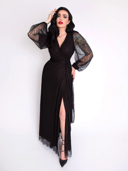 The Black Widow Wrap Gown in Black Lace from La Femme en Noir.