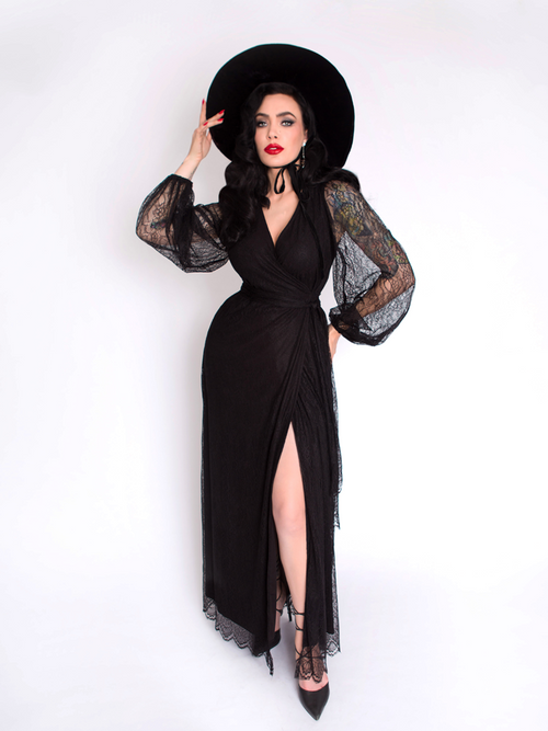 PRE-ORDER - Black Widow LACE Wrap Gown