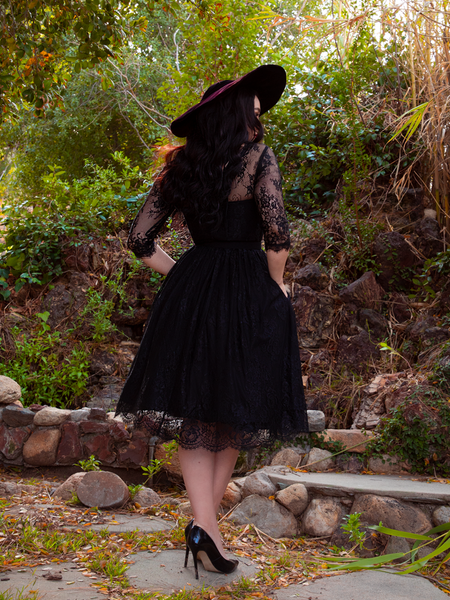 Back of the goth Mourning Dress in Black lace worn by Rachel Sedory.