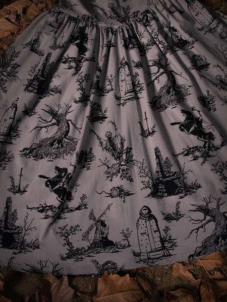 Close-up of the print on the Sleepy Hollow Gothic Tales Toile Skirt in Grey.