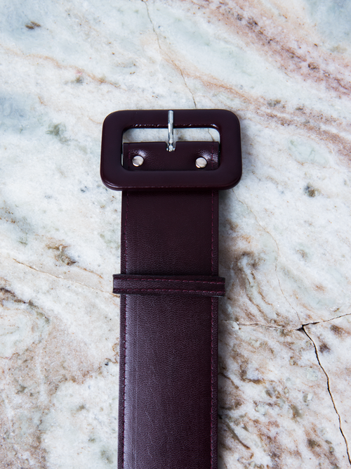 Belt in Oxblood Faux Leather - 2 Inches