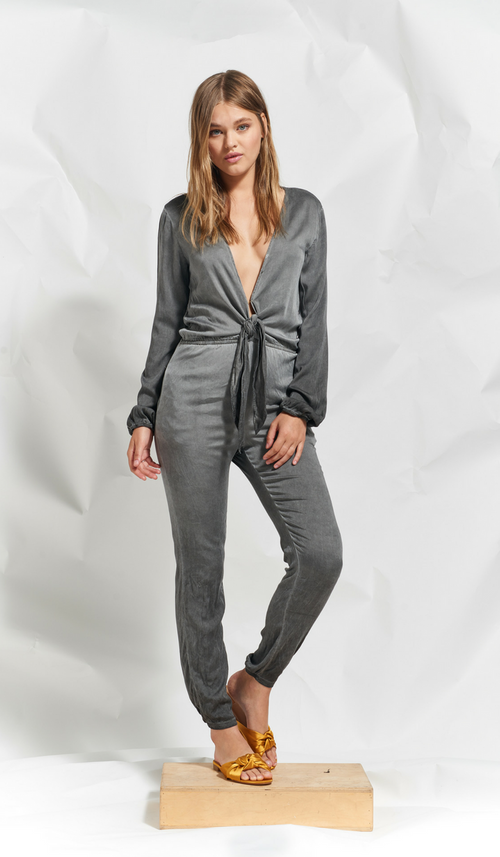 KATIA TIE FRONT JUMPSUIT - CHARCOAL - Thieves Like Us Collection
