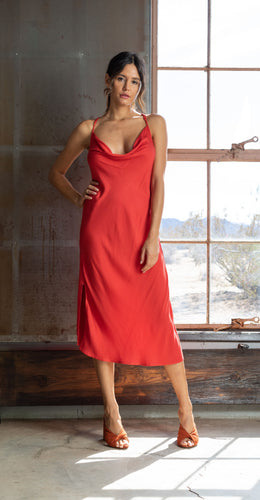 Cowl Neckline Dress - RED