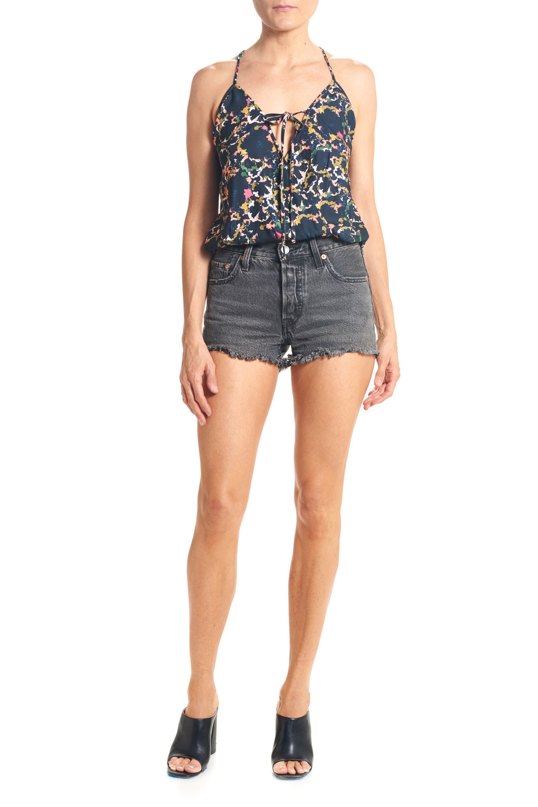 LILY TIE FRONT TANK - RETRO FLORAL - Thieves Like Us Collection