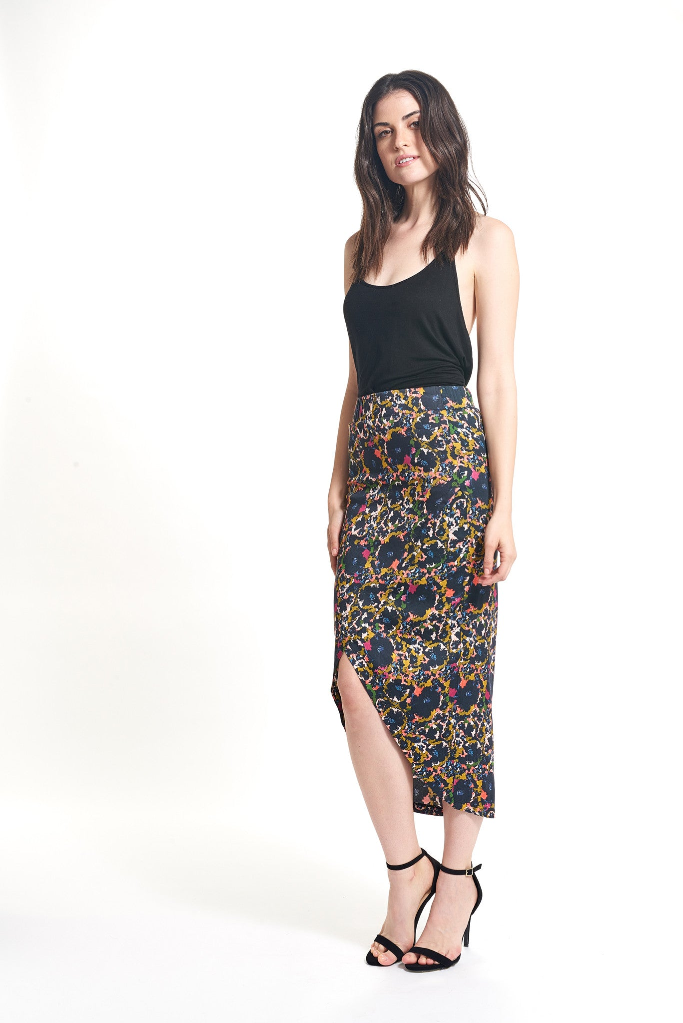 SOFIA 3/4 WRAP SKIRT - RETRO FLORAL - Thieves Like Us Collection