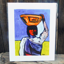 Native American Art Print-Navajo/Dine Signed Print of Original Painting-Ronald Chee-Woman with Pot