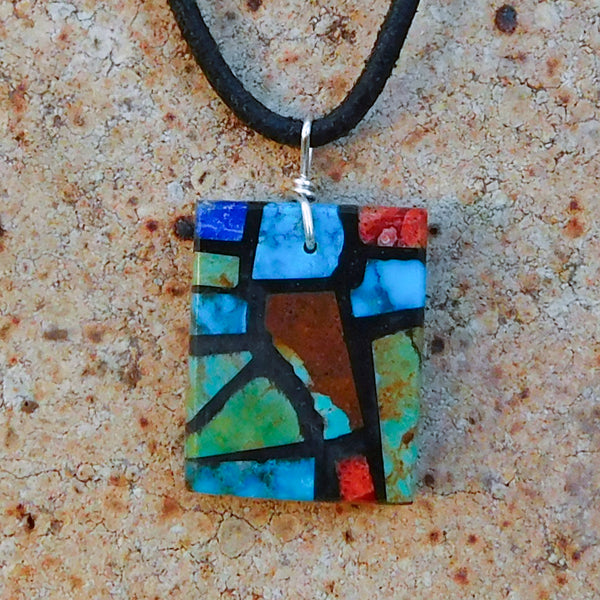 Native American Jewelry-Santo Domingo/Kewa Pueblo-Multi-Stone Mosaic Inlay Pendant-Julian Coriz