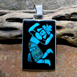 Native American Jewelry-Zuni Sterling Silver & Turquoise Inlay RAINBOW MAN Pendant-Harlan Coonsis