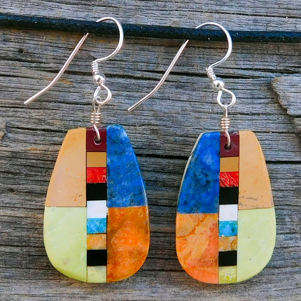 Native American Jewelry-Santo Domingo/Kewa Pueblo-Lapis & Multi-Stone Inlay Earrings-Rudy & Mary Coriz