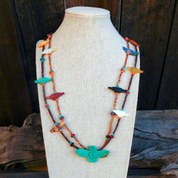 Native American Jewelry-Zuni Hand Carved Turquoise Multi-Stone EAGLE FETISH NECKLACE-Ernie Mackel
