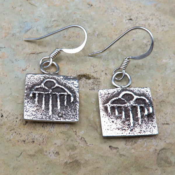 Native American Jewelry-Santo Domingo/Kewa Pueblo-Small Sterling Silver Tufa Cast Rain Cloud Design Earrings-Dino Garcia