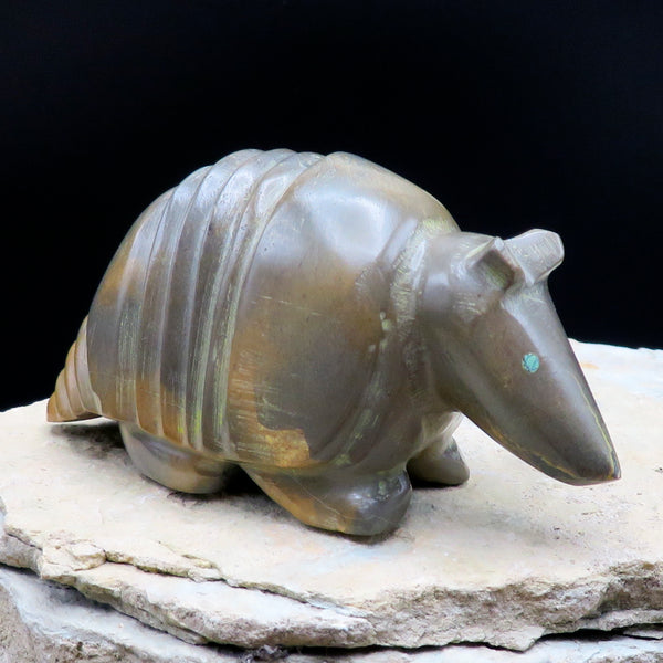 Native American Zuni Fetish Carving-Travertine Large STEADFAST ARMADILLO-Spirit Animal-Enrike Leekya