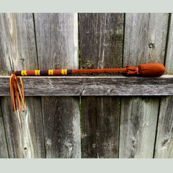 Native American Beadwork - Drum Beater - Handmade - Hand Beaded Cheyenne Leather Wrapped Buffalo Drum Beater