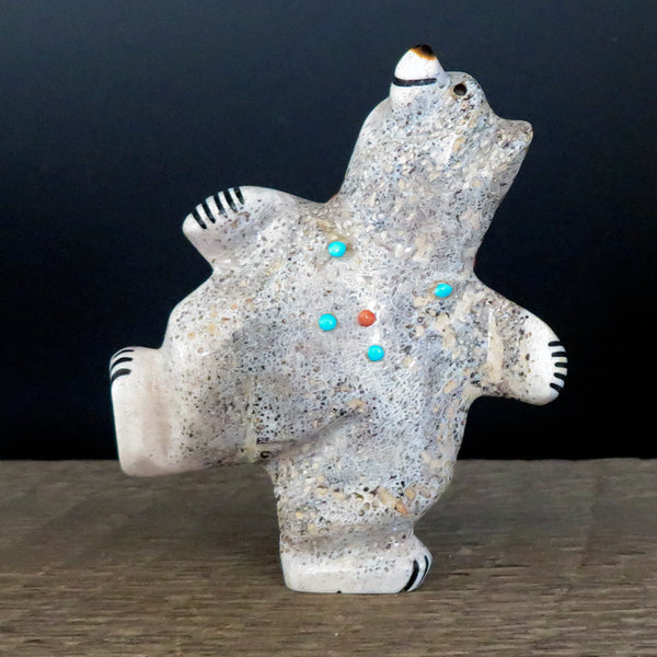 Native American Zuni Fetish Carving - Antler DANCING BEAR-Spirit Animal-Claudia Peina