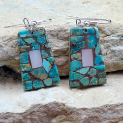 Native American Jewelry-Navajo/San Felipe Turquoise & Mother of Pearl Mosaic Inlay Earrings-Bryan Tom