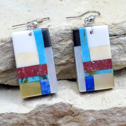 Native American Jewelry-Navajo/San Felipe Turquoise Multi-Stone Geometric Inlay Earrings-Bryan Tom