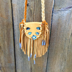Native American Medicine Bag - Dene Handmade Tan Leather and Abalone Medicine Bag-Nathalie Waldman