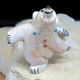 Native American Zuni Fetish Carving - Antler JOYOUS DANCING BEAR-Spirit Animal-Claudia Peina