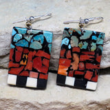 Native American Jewelry-Navajo/San Felipe Turquoise & Spiny Oyster Mosaic Inlay Earrings-Bryan Tom