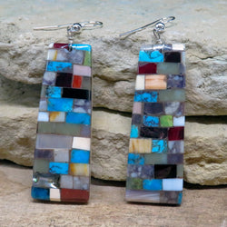Native American Jewelry-Navajo/San Felipe Multi-Stone Mosaic Inlay Statement Earrings-Bryan Tom