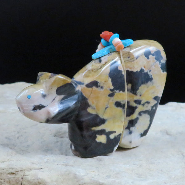 Native American Zuni Fetish Carving-Leopard Rock BOBCAT-Spirit Animal-Kyle Mahooty