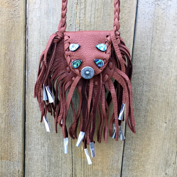Native American Medicine Bag-Dene Handmade Brown Leather Fringe Medicine Bag with Abalone-Nathalie Waldman