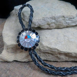 Native American Jewelry-Zuni Sterling Silver & Multi-Stone Inlay SUNFACE BOLO-Frederick and Denise Suitza