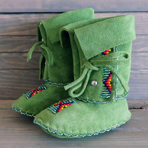 Native American Beadwork-Cheyenne Baby Moccasins-Beaded Soft Sole Leather Booties-Janet Whiteman