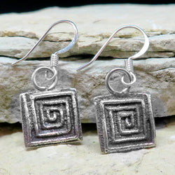 Native American Jewelry-Santo Domingo/Kewa Pueblo-Small Sterling Silver Tufa Cast Maze Design Earrings-Dino Garcia