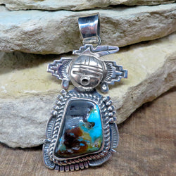 Native American Jewelry-Navajo Sterling Silver and Turquoise Kachina Pendant-Bennie Ration