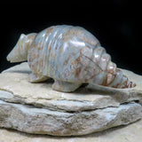 Native American Zuni Fetish Carving-Picasso Marble Large ARMADILLO-Spirit Animal-Enrike Leekya