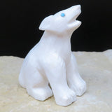 Native American Zuni Fetish Carving-Marble HOWLING WHITE COYOTE-Spirit Animal-Derrick Kaamasee