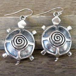 Native American Jewelry-Yavapai-Apache Yavapai-Apache-Cast Sterling Silver SPIRAL TURTLE Earrings - Matagi Sorensen