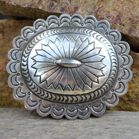 Native American Jewelry-Navajo Sterling Silver Hand Stamped Belt Buckle-Carson Blackgoat