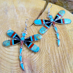 Native American Jewelry-Zuni Sterling Silver & Stone Inlay DRAGONFLY Earrings-Angus Ahiyite