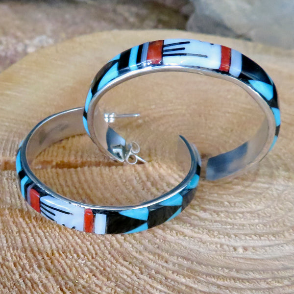 Native American Jewelry-Zuni Sterling Silver & Multi-Stone Inlay Hoop Earrings-Leif Esalio