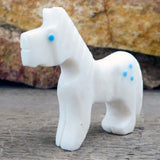 Native American Zuni Fetish Carving-White Marble POWER PONY-Spirit Animal-Todd Etsate