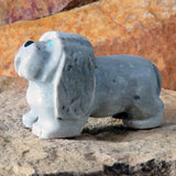 Native American Zuni Fetish Carving-Marble PAMPERED DOG-Spirit Animal-Felissa Martin