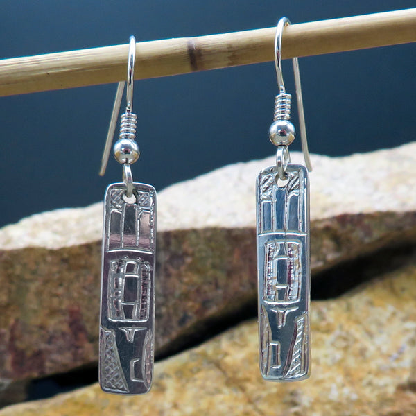 Native American Jewelry-Tahltan-Tlingit-Sterling Silver HUMMINGBIRD Earrings - Terrence Campbell