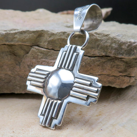 Native American Jewelry-Navajo Sterling Silver ZIA Symbol Pendant - Randy Secatero