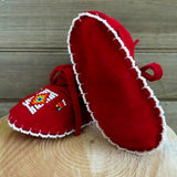 Native American Beadwork-Baby Moccasins-Leather-Cheyenne Handmade and Hand Beaded-Soft Sole-Janet Whiteman