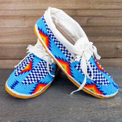 Native American Beadwork-Cheyenne Heirloom Quality Fully Beaded Leather Moccasins-Hand Made Wearable Art-Janet Whiteman