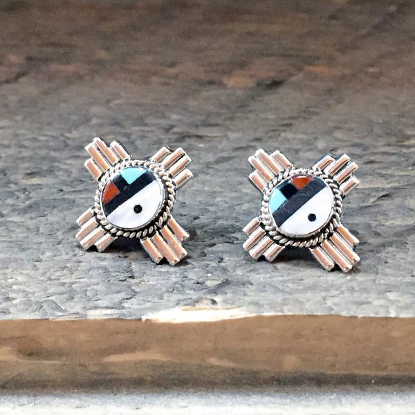 Native American Jewelry-Zuni Sterling Silver & Stone Inlay ZIA SUNFACE Post Earrings-Clifford Cheama