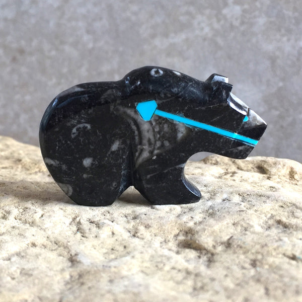 Zuni_Fetish Carving - Orthoceras Fossil BEAR- Spirit Animal - Kenric Laiwakete